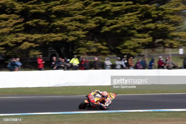 Repsol Honda Team rider Marc Marquez in qualifying during The 2018 Australian MotoGP at The Phillip Island Circuit in Victoria Australia on October...