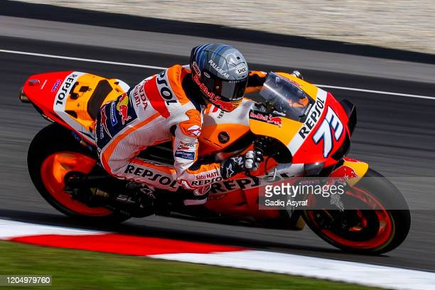 Repsol Honda Team Spanish rider Alex Marquez in action during the MotoGP pre-season test at Sepang International Circuit on February 9, 2020 in...