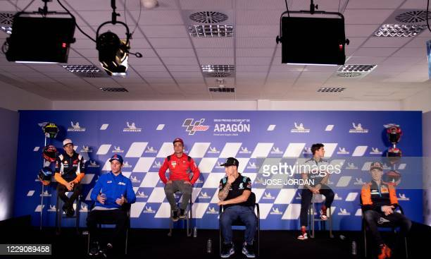 Repsol Honda Team Spanish rider Alex Marquez, Team SUZUKI ECSTAR Spanish driver Joan Mir, Ducati Team Italian driver Danilo Petrucci, Petronas Yamaha...