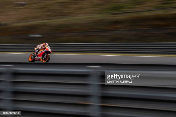 TOPSHOT Repsol Honda Team Spanish rider Dani Pedrosa participates in the first practice session ahead of the MotoGP Japanese Grand Prix at Twin Ring...