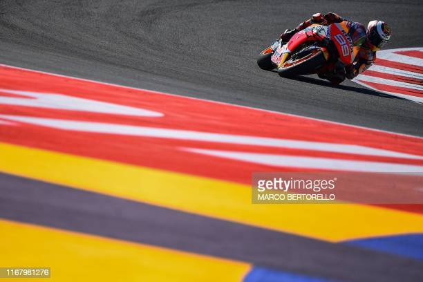 Repsol Honda Team Spanish rider, Jorge Lorenzo takes a curve during a free practice session ahead of the San Marino MotoGP Grand Prix race at the...