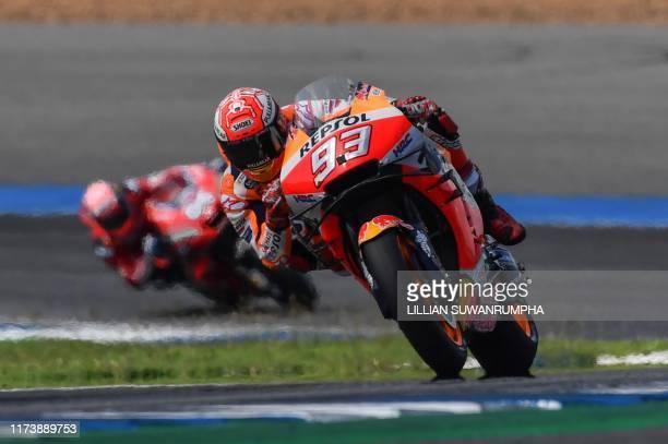 Repsol Honda Team Spanish rider Marc Marquez rides during the MotoGP race for the Thailand Grand Prix at Buriram International Circuit in Buriram on...