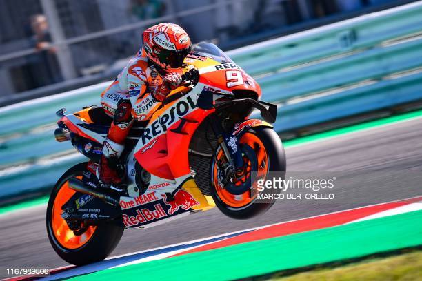 Repsol Honda Team Spanish rider, Marc Marquez steers his motorbike during a free practice session ahead of the San Marino MotoGP Grand Prix race at...