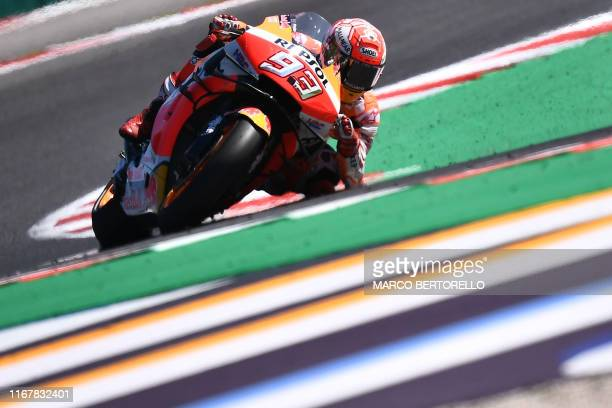 Repsol Honda Team Spanish rider, Marc Marquez takes a curve during a free practice session ahead of the San Marino MotoGP Grand Prix race at the...