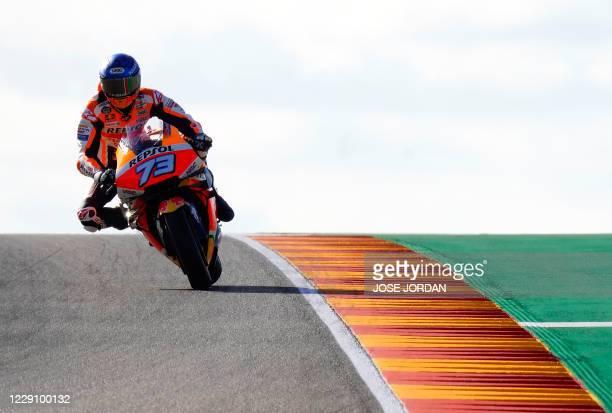 Repsol Honda Team's Spanish rider Alex Marquez rides during the first MotoGP free practice session of the Moto Grand Prix of Aragon at the Motorland...