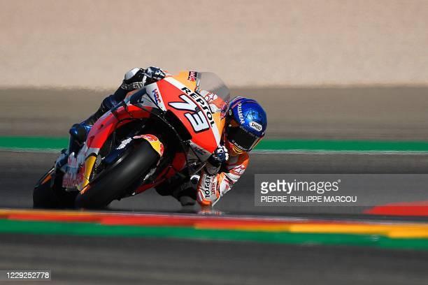 Repsol Honda Team's Spanish rider Alex Marquez takes part in the fourth free practice session ahead of the MotoGP Grand Prix of Teruel at the...