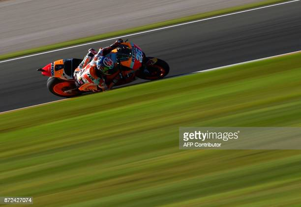 Repsol Honda Team's Spanish rider Dani Pedrosa rides during the first MotoGP free practice session of the race of the Valencia Grand Prix at Ricardo...
