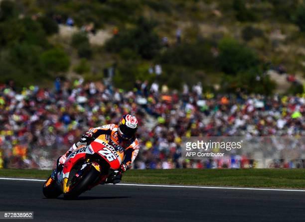 Repsol Honda Team's Spanish rider Dani Pedrosa rides during the fourth MotoGP free practice session of the Valencia Grand Prix at Ricardo Tormo...