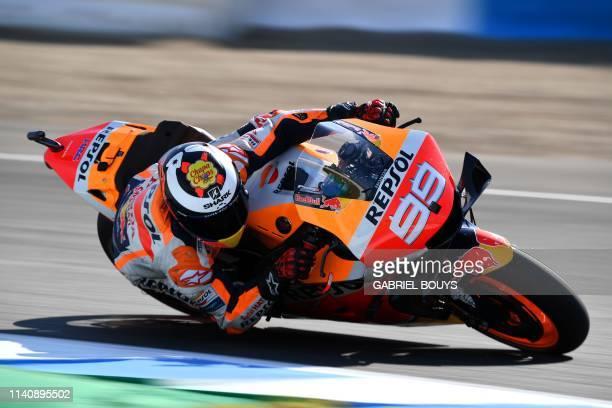 Repsol Honda Team's Spanish rider Jorge Lorenzo rides during the first MotoGP free practice session of the Spanish Grand Prix at the Jerez Angel...