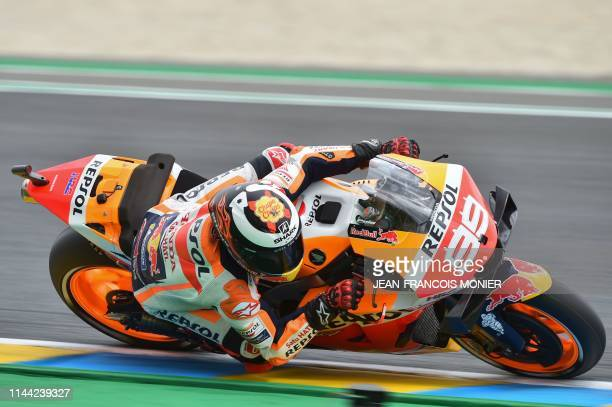 Repsol Honda Team's Spanish rider Jorge Lorenzo rides during the second MotoGP free practice session, ahead of the French Motorcycle Grand Prix, on...