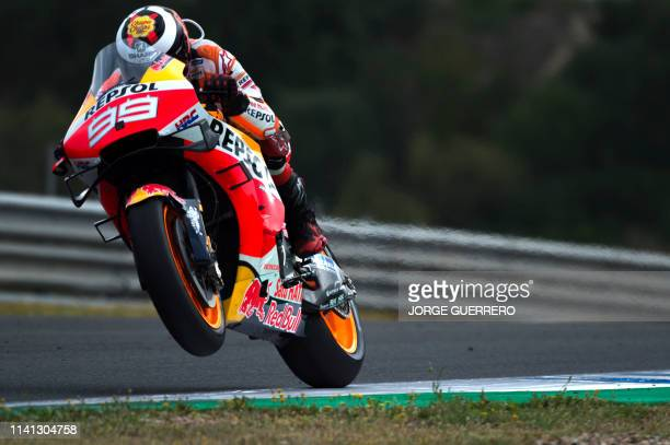 Repsol Honda Team's Spanish rider Jorge Lorenzo rides during the warm up session ahead of the MotoGP race of the Spanish Grand Prix at the Jerez...