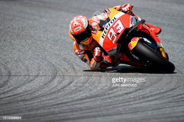 Repsol Honda Team's Spanish rider Marc Marquez competes during the qualifying session of the Austrian MotoGP Grand Prix at the Red Bull Ring in...