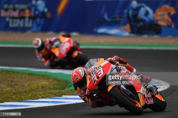 Repsol Honda Team's Spanish rider Marc Marquez competes during the MotoGP qualifying session of the Spanish Grand Prix at the Jerez - Angel Nieto...
