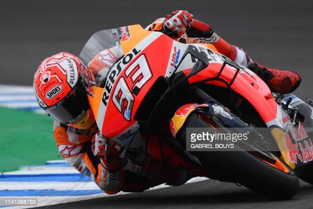 Repsol Honda Team's Spanish rider Marc Marquez competes during the MotoGP qualifying session of the Spanish Grand Prix at the Jerez Angel Nieto...