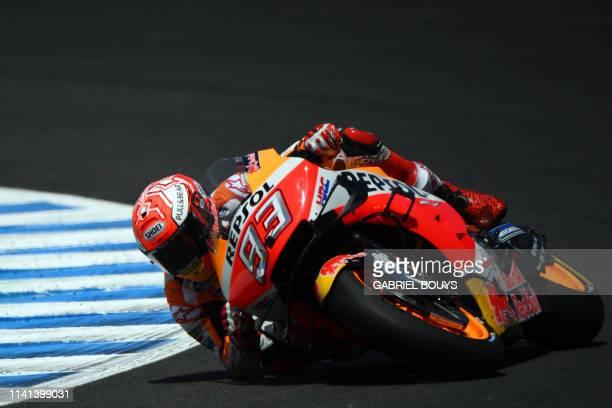 Repsol Honda Team's Spanish rider Marc Marquez competes during the MotoGP race of the Spanish Grand Prix at the Jerez Angel Nieto circuit in Jerez de...