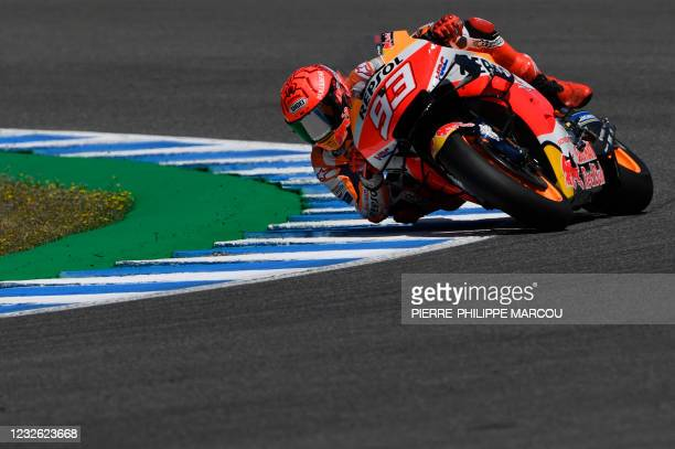 Repsol Honda Team's Spanish rider Marc Marquez competes during the MotoGP fourth free practice session of the Spanish Grand Prix at the Jerez Circuit...