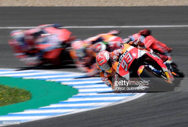 Repsol Honda Team's Spanish rider Marc Marquez competes during the MotoGP race of the Spanish Grand Prix at the Jerez Angel Nieto racetrack in Jerez...