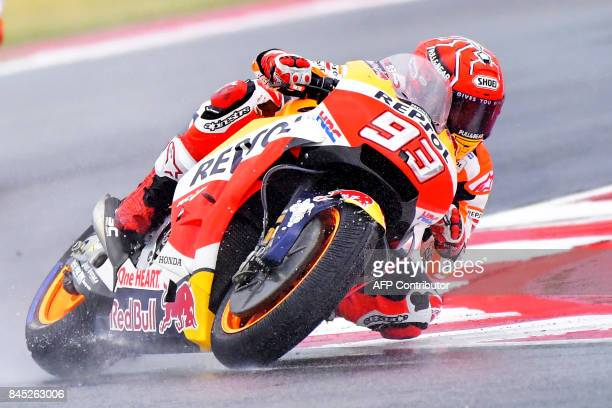 Repsol Honda Team's Spanish rider Marc Marquez competes during the San Marino Moto GP Grand Prix at the Marco Simoncelli Circuit in Misano on...
