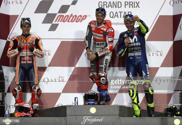 Repsol Honda Team's Spanish rider Marc Marquez Ducati Team's Italian rider Andrea Dovizioso and Movistar Yamaha MotoGP's Italian rider Valentino...