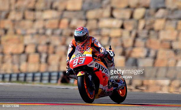 Repsol Honda Team's Spanish rider Marc Marquez Movistar competes during the Moto GP race of the Aragon Grand Prix at the Motorland racetrack in...
