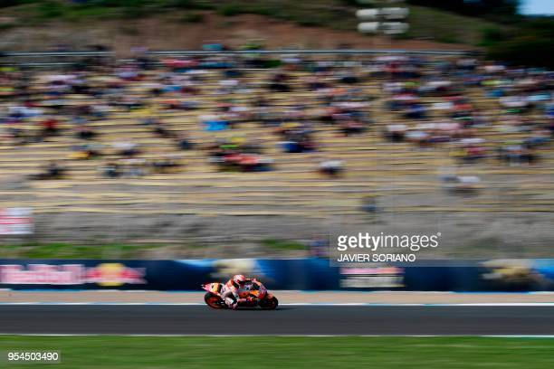 TOPSHOT Repsol Honda Team's Spanish rider Marc Marquez rides during the first MotoGP free practice session of the Spanish Grand Prix at the Jerez...
