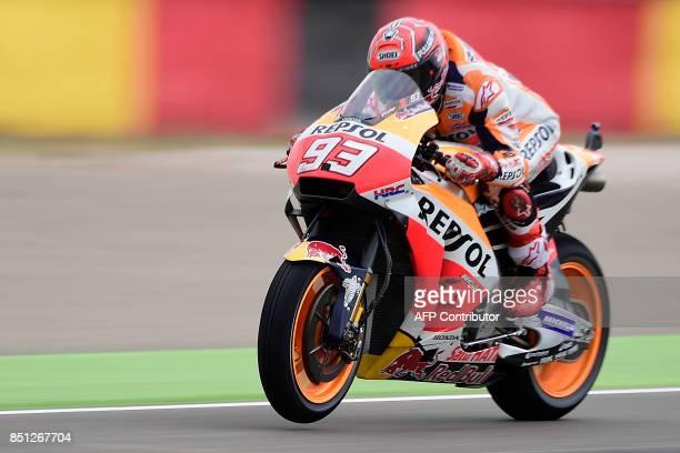 Repsol Honda Team's Spanish rider Marc Marquez rides during the Moto GP first free practice during the Moto Grand Prix of Aragon at the Motorland...