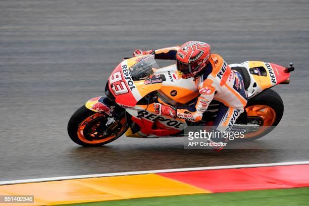 Repsol Honda Team's Spanish rider Marc Marquez rides during the Moto GP second free pratice of the Moto Grand Prix of Aragon at the Motorland circuit...