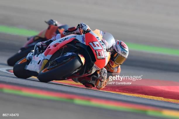 Repsol Honda Team's Spanish rider Marc Marquez rides during the Moto GP third free pratice of the Moto Grand Prix of Aragon at the Motorland circuit...