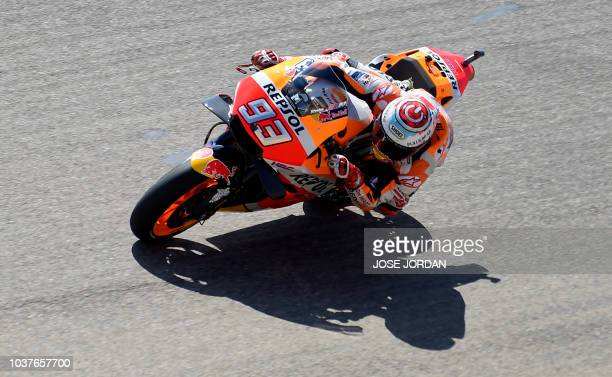 Repsol Honda Team's Spanish rider Marc Marquez rides during the MotoGP fourth free practice of the Aragon Grand Prix at the Motorland racetrack in...