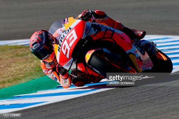 Repsol Honda Team's Spanish rider Marc Marquez rides during the MotoGP test of the Spanish Grand Prix at the Jerez racetrack in Jerez de la Frontera...
