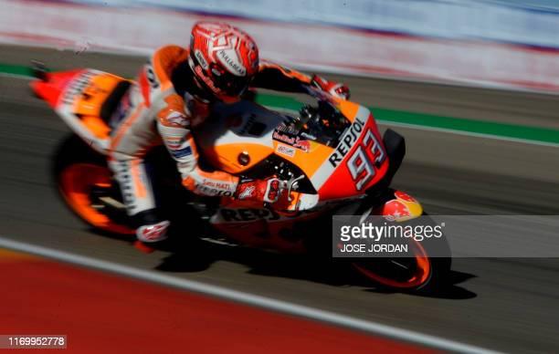 Repsol Honda Team's Spanish rider Marc Marquez rides during the third MotoGP free practice session of the Moto Grand Prix of Aragon at the Motorland...