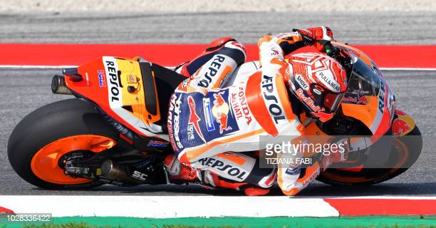 Repsol Honda Team's Spanish rider Marc Marquez takes a curve during the free practice session of the San Marino Moto GP Grand Prix race at the Marco...