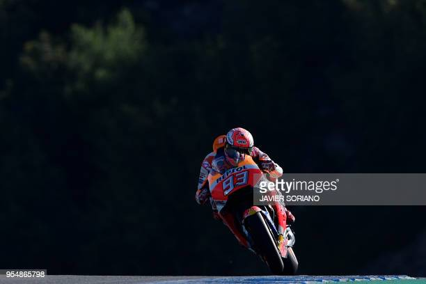 TOPSHOT Repsol Honda Team's Spanish rider Marc Marquez takes part in the third MotoGP free practice session of the Spanish Grand Prix at the Jerez...