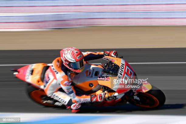 Repsol Honda Team's Spanish rider Marc Marquez takes part in the third MotoGP free practice session of the Spanish Grand Prix at the Jerez racetrack...