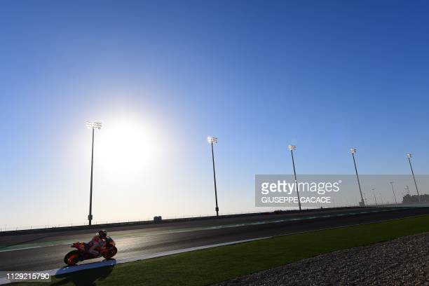 TOPSHOT Repsol Honda's Jorge Lorenzo of Spain competes in the first practice session at Losail track in Doha on March 8 2019 ahead of the season's...