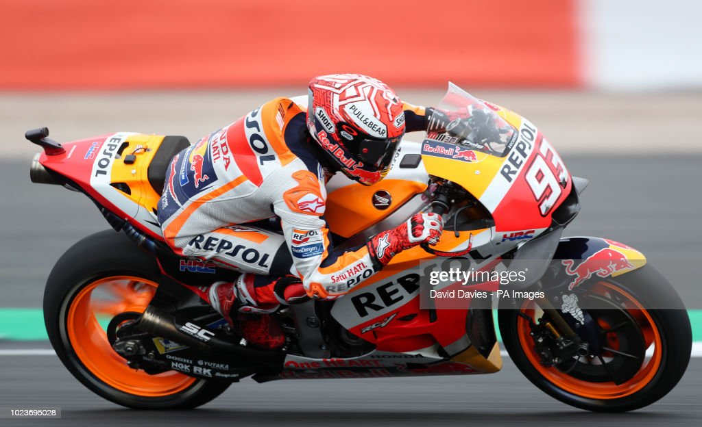 Repsol Honda's Marc Marquez during warm up ahead of the GoPro British Grand Prix MotoGP at Silverstone, Towcester.