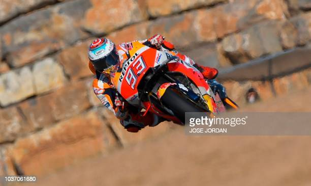 Repsol Honda's Spanish rider Marc Marquez rides during the MotoGP first free practice of the Aragon Grand Prix at the Motorland racetrack in Alcaniz...