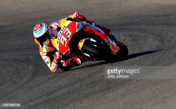TOPSHOT Repsol Honda's Spanish rider Marc Marquez rides during the MotoGP first free practice of the Aragon Grand Prix at the Motorland racetrack in...