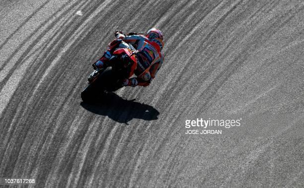 TOPSHOT Repsol Honda's Spanish rider Marc Marquez rides during the MotoGP third free practice of the Aragon Grand Prix at the Motorland racetrack in...