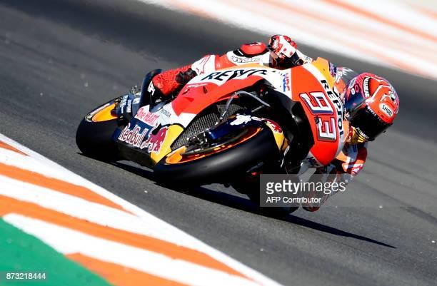 Repsol Honda's Spanish rider Marc Marquez rides during the MotoGP race of the Valencia Grand Prix at Ricardo Tormo racetrack in Cheste near Valencia...