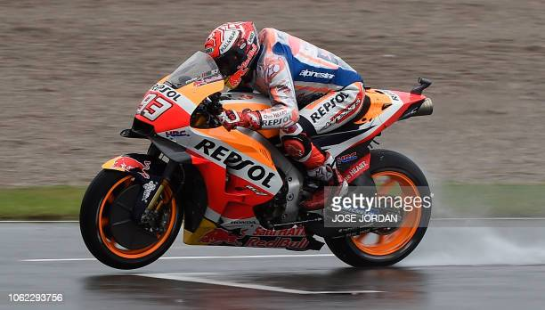 Repsol Honda's Spanish rider Marc Marquez rides during the second free practice session of the MotoGP Valencia Grand Prix at the Ricardo Tormo...