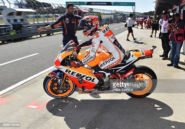 Repsol Honder rider Marc Marquez of Spain takes to pit lane for the qualifying session of the MotoGP Australian Grand Prix at Phillip Island on...
