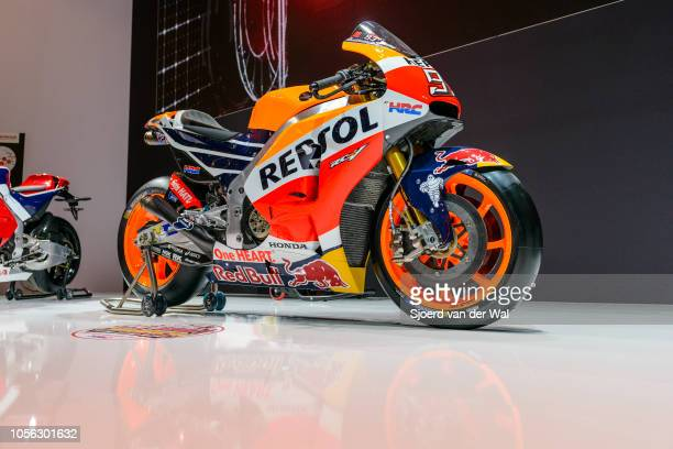 Repsol Team Honda Honda RC213V racing bike on display at Brussels Expo on January 13 2017 in Brussels Belgium Marc Márquez won the 2016 MotoGP...