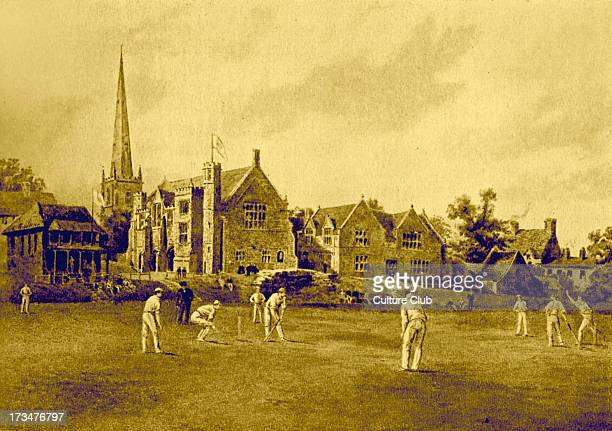 Repton School from the Cricket Field Coloured engraving by F G Stevenson after F P Barraud English public school