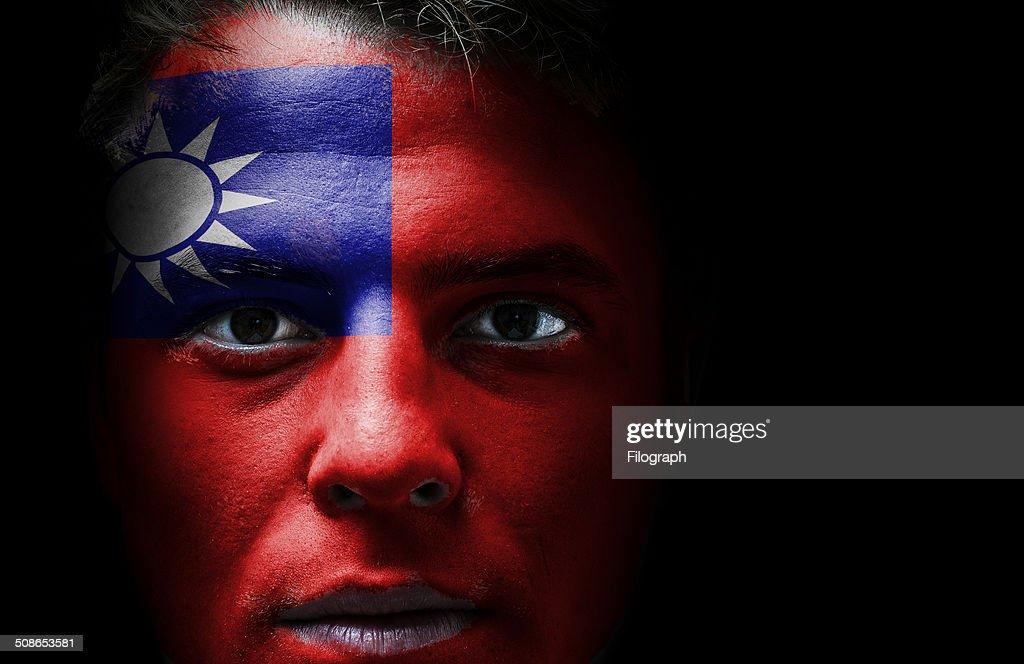 Republic of China flag on face : Stock Photo