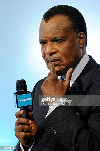 Republic of Congo President Denis Sassou Nguesso looks on during a debate at the Swiss TV on October 22, 2010 in Montreux on the sideline of the 13th...