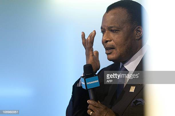 Republic of Congo President Denis Sassou-Nguesso speaks during a debate at the Swiss TV on October 22, 2010 in Montreux on the sideline of the 13th...