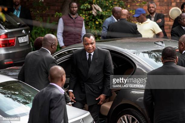 Republic of Congo's President Denis Sassou Nguesso arrives to pay his respects at the house of the late Winnie Mandela on April 13 2018 in...