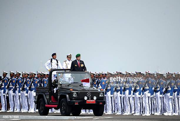 Republic of Indonesia President Susilo Bambang Yudhoyono inspects Indonesian Military troops during The 69th Republic of Indonesian Military...