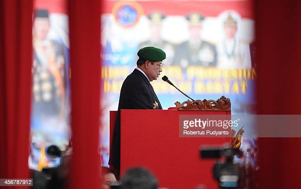 Republic of Indonesia President Susilo Bambang Yudhoyono talks during The 69th Republic of Indonesian Military Anniversary on October 7 2014 in...